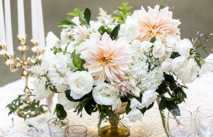 010 blush and white centerpiece